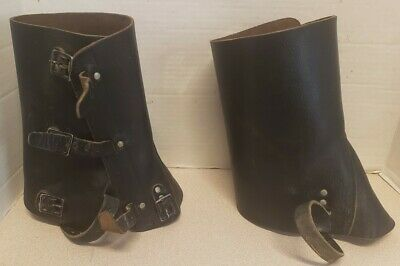 Spats, Gaiters, Puttees – Vintage Shoes Covers Vintage 70's Swiss Military Leather Gaiters Spats Black Used $24.99 AT vintagedancer.com