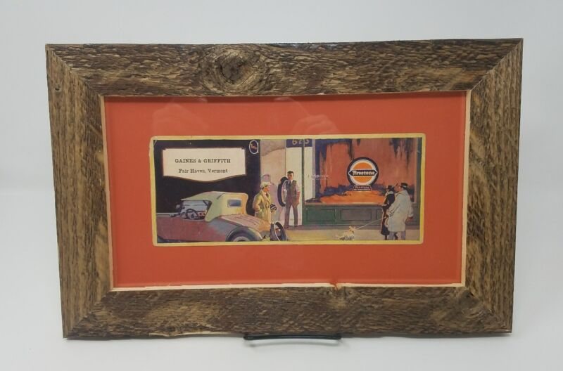 Rustic pro framed and matted Vintage Firestone Tire advertisement