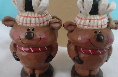 Christmas Reindeer  two 4'' sweet ornaments brown red green