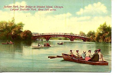 People In Row Boats Iron Bridge Jackson Park Chicago Illinois Vintage Postcard