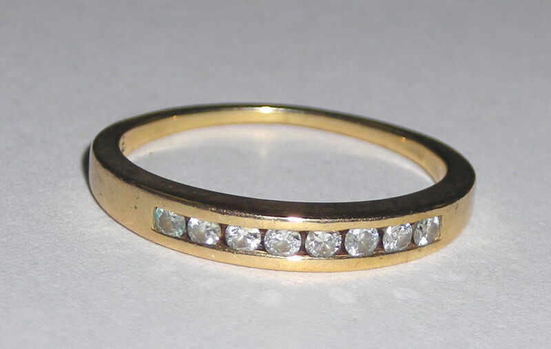 Ladies 14k Yellow Gold & Diamond Band Ring Stackable   Simple Elegance