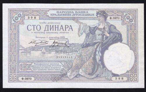 100  DINARA  1929------ KINGDOM  YUGOSLAVIA ----P-27a---- a-UNC------RR