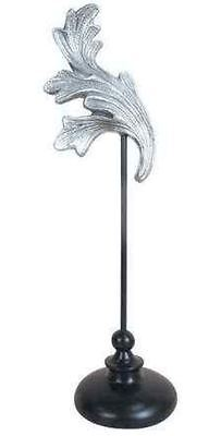 SILVER BAROQUE ROCOCO SCROLL ON BLACK STAND SCULPTURE ORNAMENT next day (Scroll Ornament Stand)