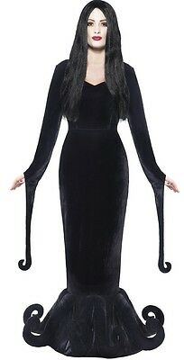 Ladies Morbid Mistress Morticia Gothic Halloween Fancy Dress Costume Outfit - Morbid Halloween Costumes