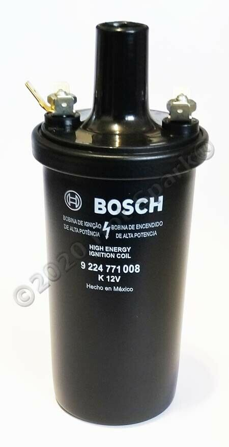 OEM BOSCH Black Coil 3.4 Ohms Primary Resistance. For 4- or 6-cyl ignition