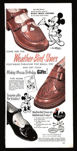 1953 WEATHER-BIRD SHOES ORIGINAL PRINT AD FEATURING MICKEY MOUSE & MINNIE MOUSE
