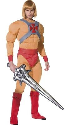 Mens He-Man Retro Cartoon Character Stag Do Party Fancy Dress Costume Outfit