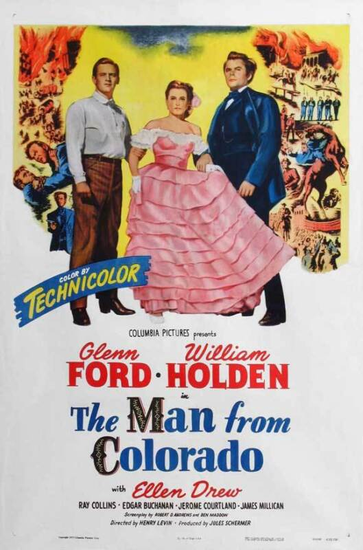 THE MAN FROM COLORADO Movie POSTER 27x40 B Glenn Ford William Holden Ellen Drew