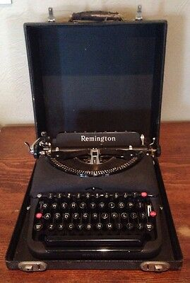 Vintage Antique REMINGTON Model 5 Portable Typewriter & Original Case Black