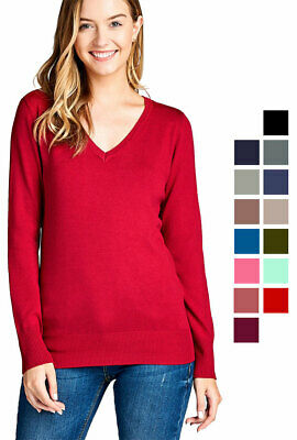 Women's Classic Pullover Sweater Casual Long Sleeve Soft Rib Banded -