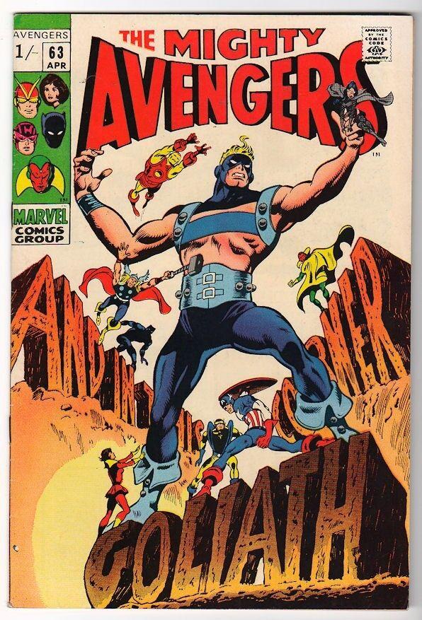 MARVEL Comics AVENGERS  #63 GOLIATH 1969  VFN-  7.5