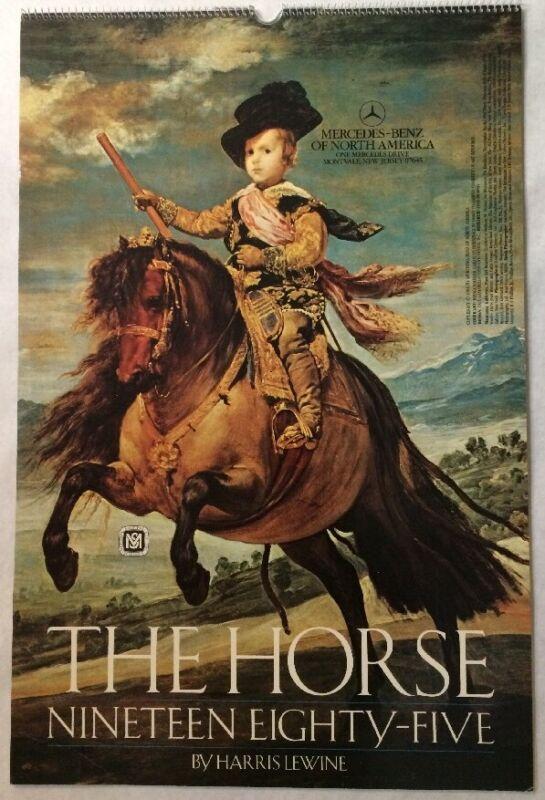 """VTG 1985 Mercedes-Benz """"The Horse"""" 14-1/2""""x22"""" Horse Collectible Wall Calendar"""