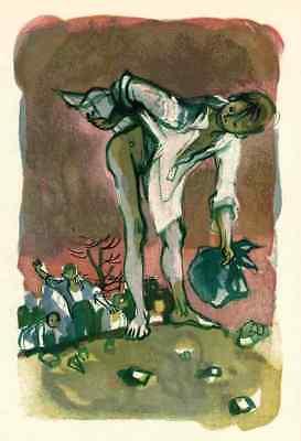 Den NACKTEN HINTERN ZEIGEN - Lucien FONTANAROSA - OriginalFarbholzschnitt 1969