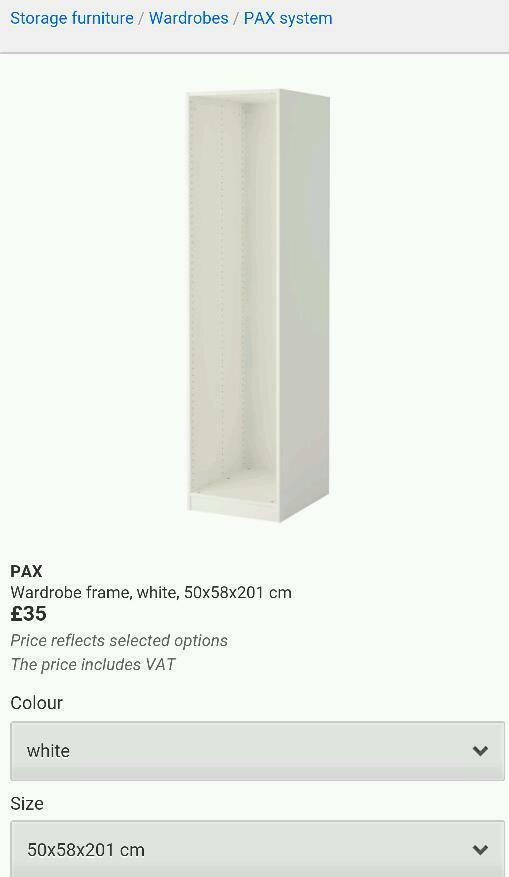Ikea pax wardrobe frame white 50cm wide 58cm deep 201cm high brand ...