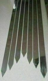BBQ Grill Kebab Skewers Flat Stainless Steel Commercial pack of 5