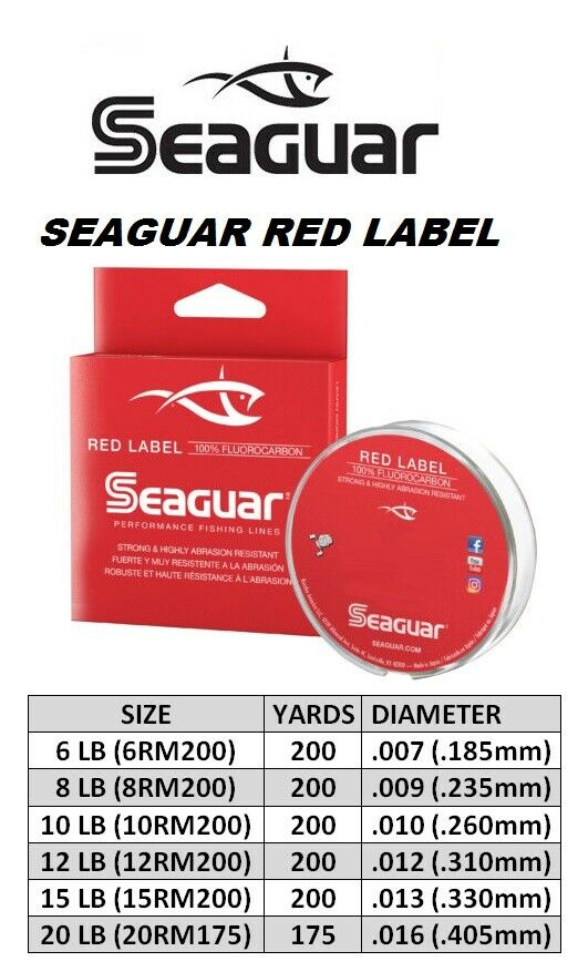 175 Yard Fishing Line #20RM175 Seaguar Red Label 100/% Fluorocarbon 20 lb