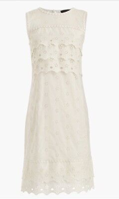 Tiered Fass (NWT JCREW Tiered Eyelet Dress Size14 In Ivory G8475 FA17 SOLDOUT!!)