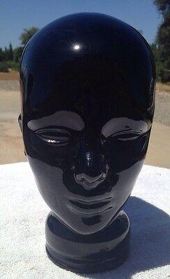 Vintage Black Glass Head Mannequin Tear Under Eye Hat Wig Display Life Size