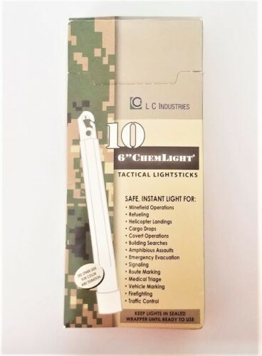 """Cyalume ChemLight Tactical Light Sticks 8 Hours 6"""" White - Box of 10 Mil Issued"""