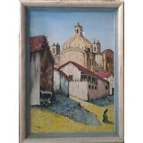J LEAL Vintage Oil Painting on Canvas, Framed Signed in 1953 by Artist