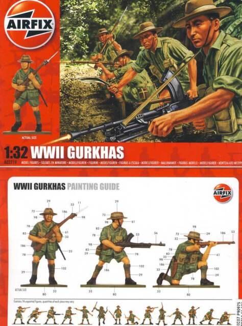 Airfix - 14 Soldaten Gurkhas Elite-Einheit British 1:32 Infantry WWII Infanterie