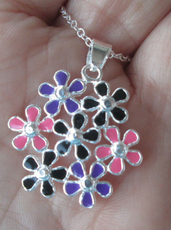 Sterling Silver Clusters of Enameled  Flowers Necklace