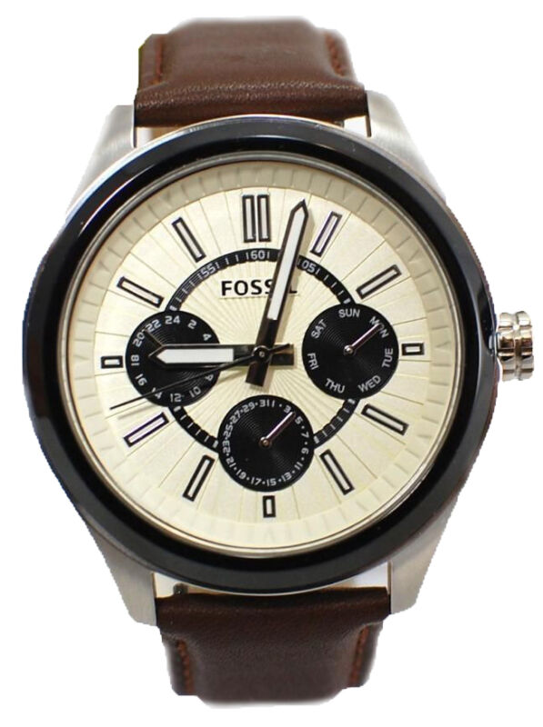 Fossil Men's Grant Brown Leather Beige & Black Chronograph Watch BQ1513