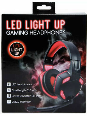 Headphones Pc Gamers Gaming Headset Wired 3.5 Jack Led Light Up NIB