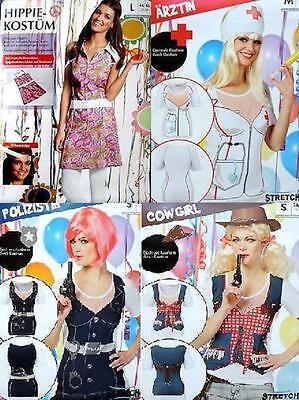 Damen Karneval Kostüm Fasching Shirt Funshirt Cowgirl Hippie Ärztin Polizistin  - Hippie Shirt Kostüm
