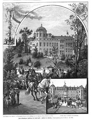 Celle, Schloss, Original-Holzstich von 1892