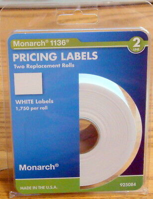 Genuine Monarch 2 Rolls 3500 Price Sticker Labels 1136 Avery 925084 028028674713