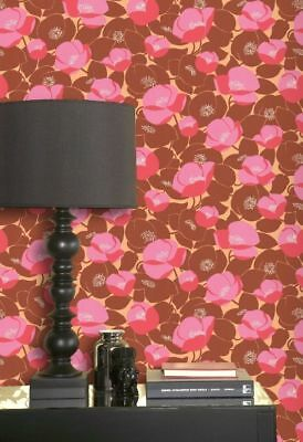 Graham & Brown Retro Flower Red Pink Orange Modern Designer Floral Wallpaper -
