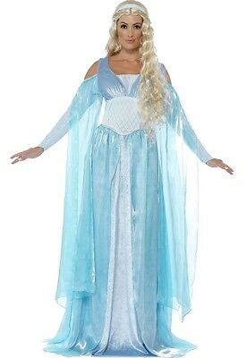 Ladies Medieval Ice Madien TV Film Fancy Dress Costume Outfit 8-22 Plus Size