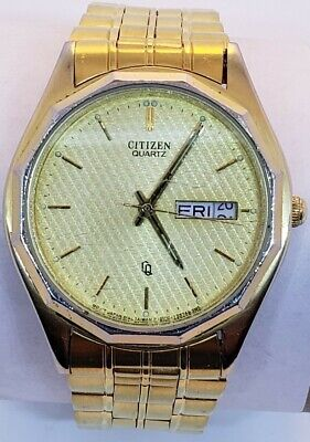 Mens citizen quartz goldtone watch