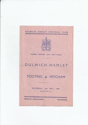 Dulwich Hamlet v Tooting & Mitcham Surrey Senior Cup Semi Final 1946/47