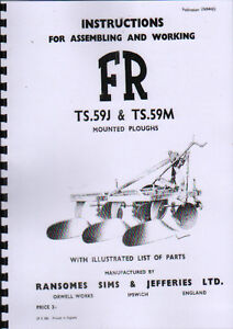 Ransomes TS.59J & TS.59M Mounted Plough Instruction and Parts Book