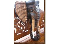 LARGE ELEPHANT WOODEN MASK / WALL ART / DECORATION BEAUTIFUL HAS MIRROR GLITZ 40 cm