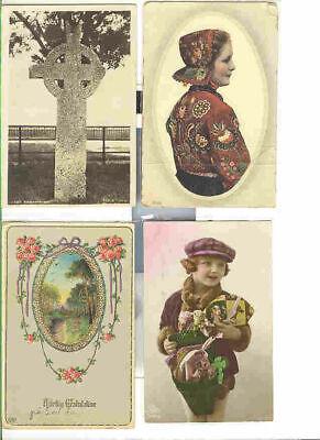 pc158 postcard Sweden Costume FOUR Different