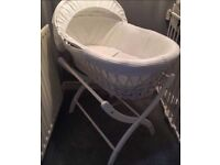White Moses basket with mattress & stand