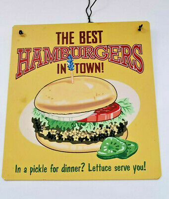 Tin Sign Best Hamburgers In Town Retro Metal Signs Plaques Restaurant Kitchen