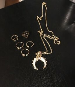 Faux Gold Celestial Necklace and Ring Set
