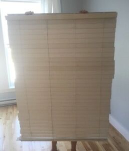 Two large white faux wood blinds - $20