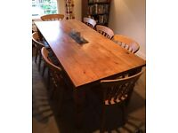 Lovely large Solid Pine farmhouse dining table with 8 traditional chairs! 2 meters long.