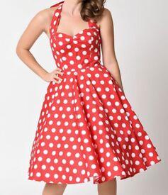 Red/white 1950,s polka dot full circle dress VVGC