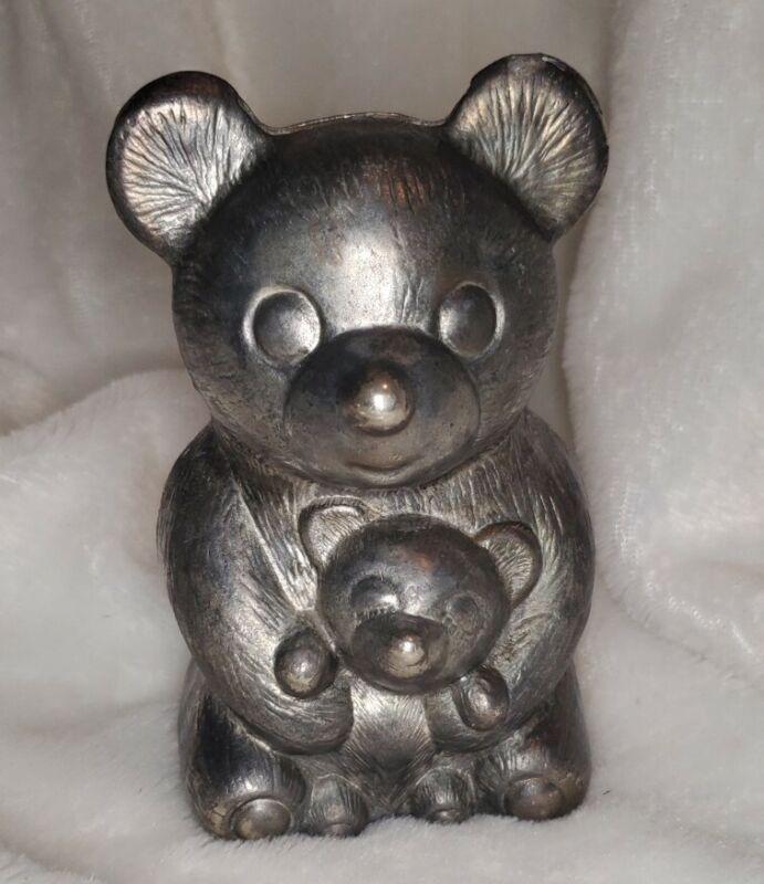Vintage Leonard Silver Plated Bear & Cub Piggy Bank Italy Silverplated