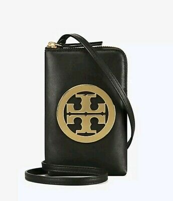 TORY BURCH CHARLIE PHONE CROSSBODY LEATHER BAG; BLACK COLOR;BNWT;RETAIL$198