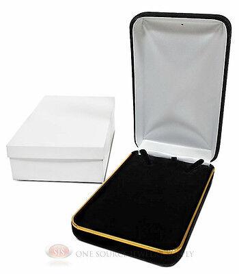 Black Velvet Metal Classic Necklace Jewelry Gift Box 4 14w X 7d X 1 58h
