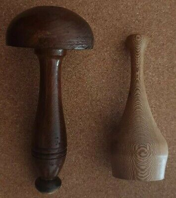 Very Old Darning Mushroom & Wooden Pot. See photos and Description