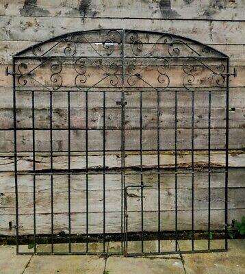 Pair Tall Reclaimed Black Gates Arch Driveway Garden Latch Hinges Bolts #G40(B)