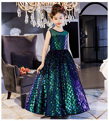 Sparkly Dresses For Kids (Childrens Girls Iridescent Sparkly Mermaid Scales Princess Pageant Dress)